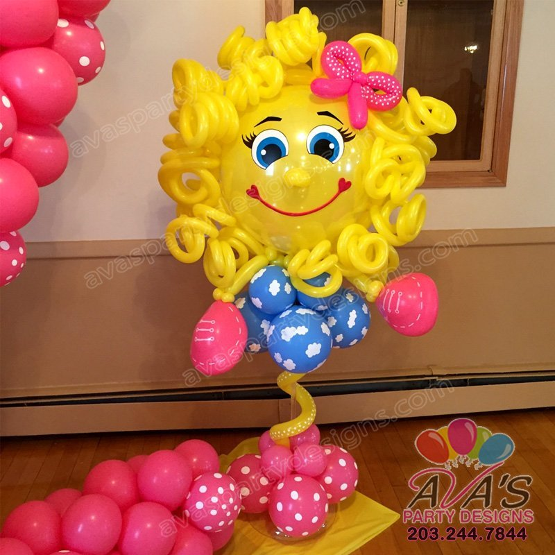 little miss sunshine balloon decor, ava's party designs, balloons decor ideas for kids party