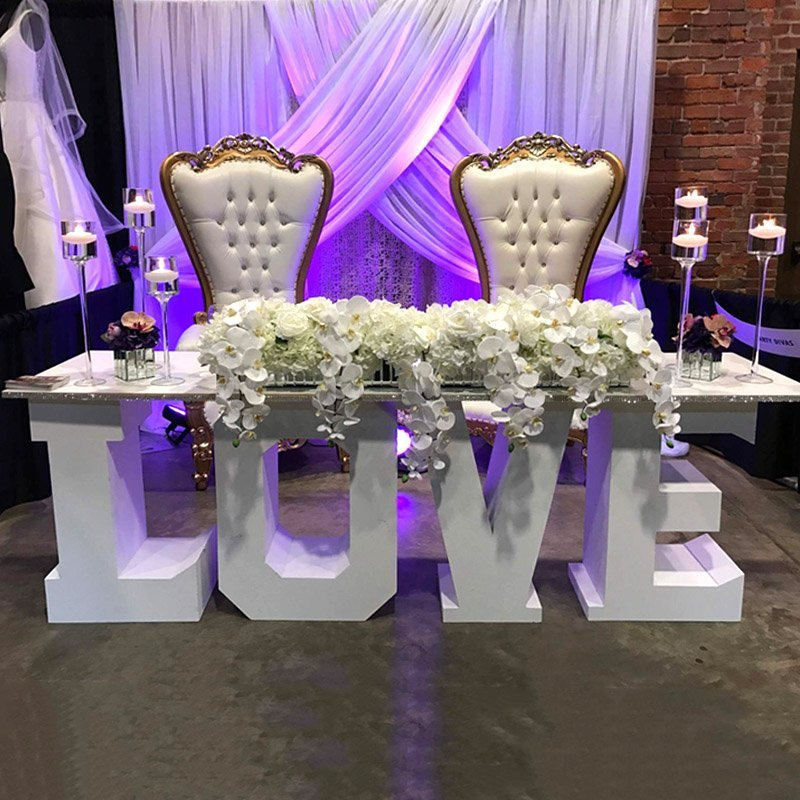 Wedding table Backdrop, head table decoration for wedding, Love Table rental