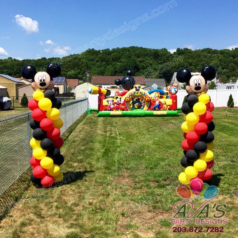 Mickey Mouse Balloon Columns, mouse head arch, balloon decoration