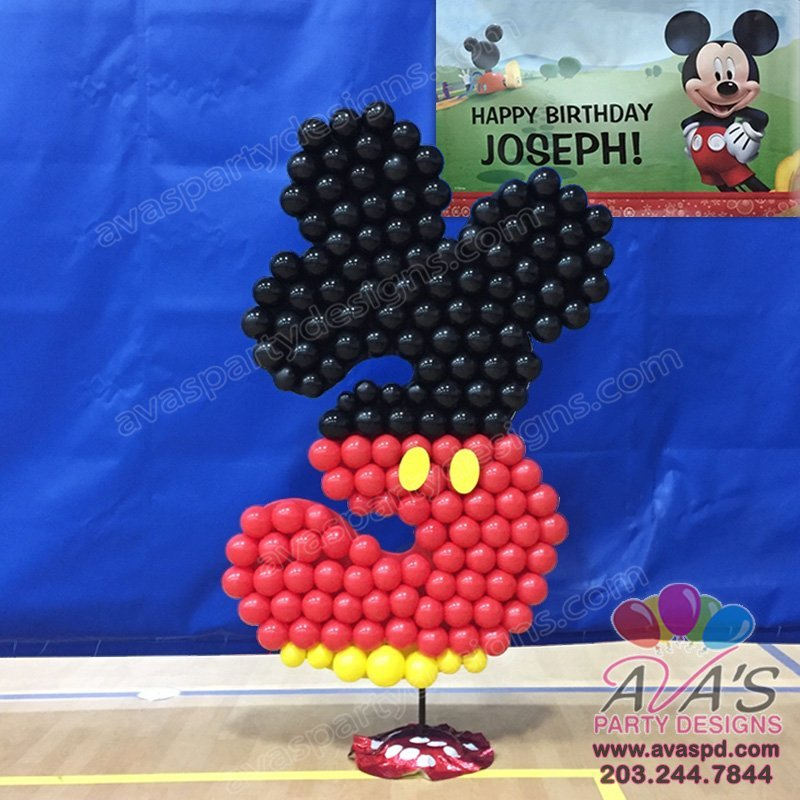 Mickey Mouse Age Balloons Sculpture, kids theme balloon decor