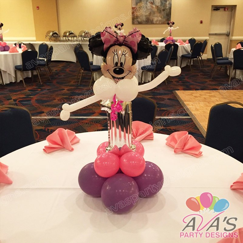 Ava's Party Designs, Minnie Mouse balloon centerpiece, Baby Minnie decoration, Ava's Party Designs