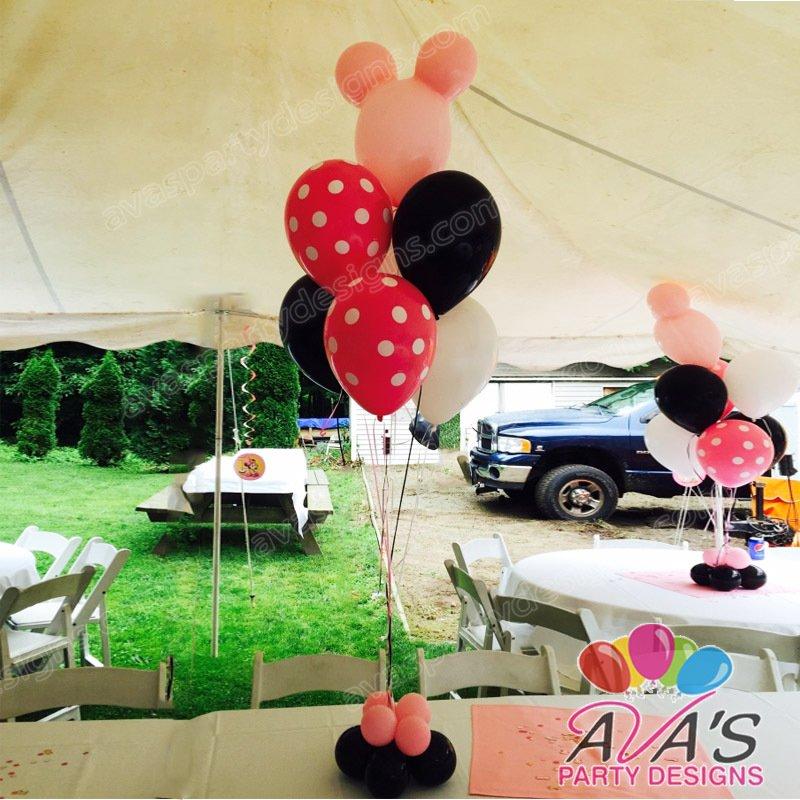 minnie mouse balloon centerpiece, minnie mouse balloon decoration