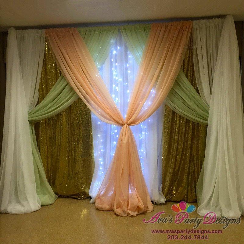 Premium: Sparkling Gold, Peach, Mint Green & White Fabric decor, Party Rental