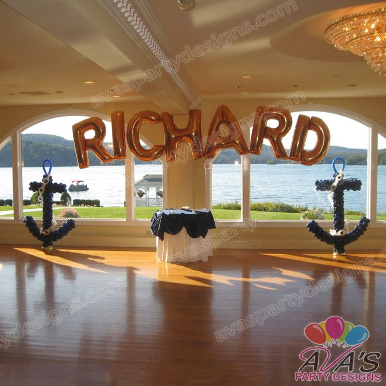 Nautical Balloon Arch balloon name arch, balloon anchor sculpture