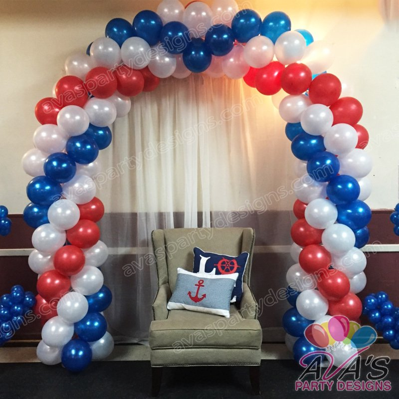 Red White and Blue Baby Shower Balloon Arch, baby shower balloon decorations, balloon decor ideas for baby shower