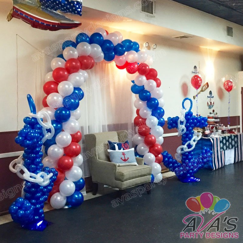 Nautical Baby Shower Balloon Arch, baby shower balloon decorations, balloon decor ideas for baby shower