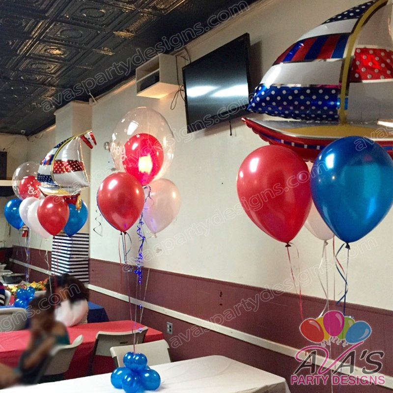 Nautical Baby Shower Balloon Centerpiece, sailboat baby shower balloon decorations, balloon decor ideas for baby shower
