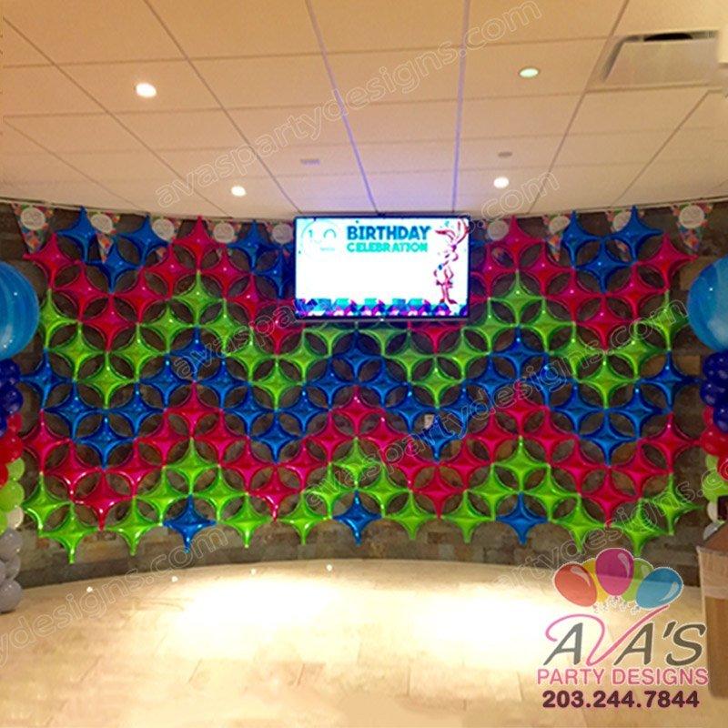 Star piont Balloon Wall, balloon backdrop, balloon decoration