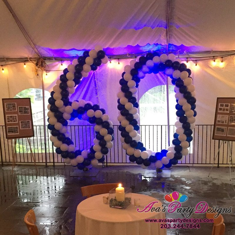 Giant Number Balloon Sculpture, blue and white balloon decor