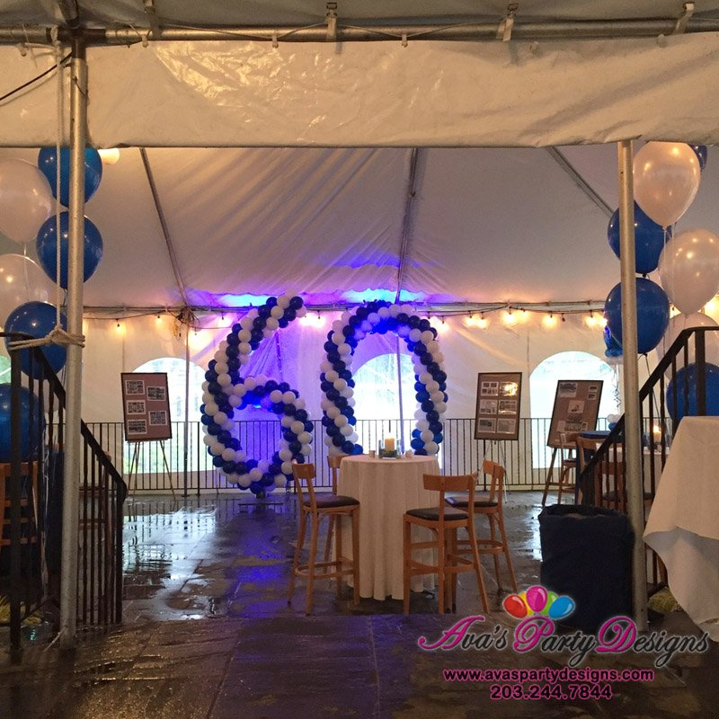 Number Balloon Sculpture, blue and white balloon decoration