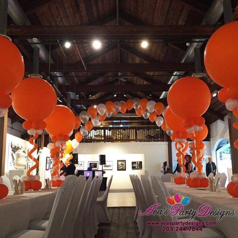 Bat Mitzvah Balloon Decoration, giant orange round balloons