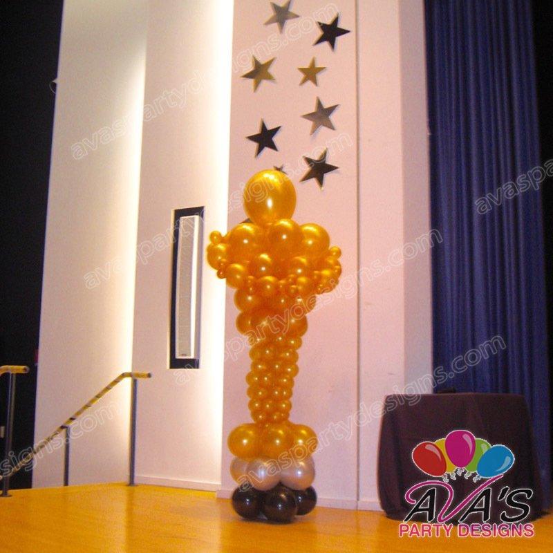 oscar balloon sculpture, award balloon decoration, balloon sculpture