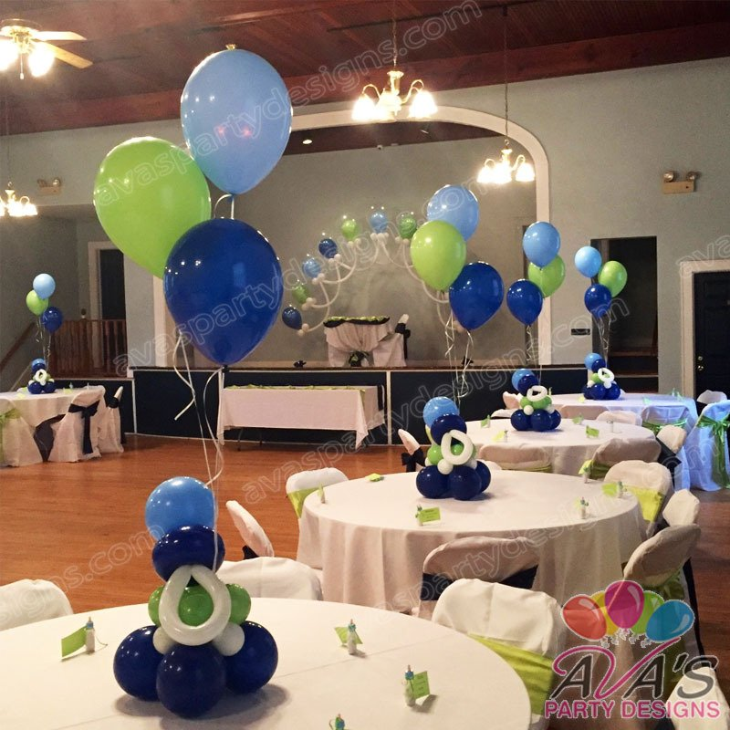 Baby Shower Balloon Centerpiece, baby shower balloon pacifier decorations, balloon decor ideas for baby shower