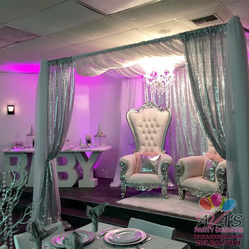 Party Rentals, Baby Shower Luxury Chairs, Square Fabric Canopy, Baby Table, Chandelier, Uplighting, Pillows + Rug