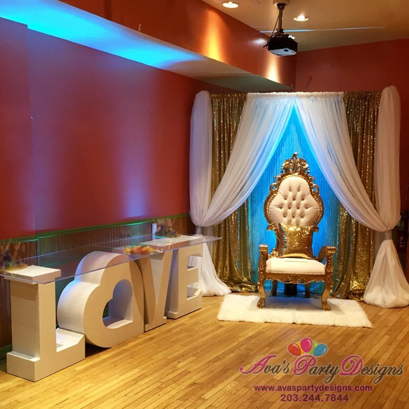 party rentals, throne chairs, love table, statement table, fabric backdrop