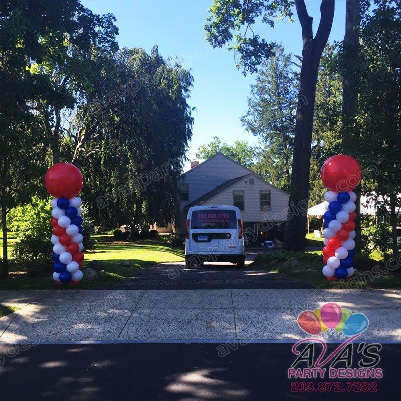 Patriotic Balloon Columns, red white and blue balloon column, balloon tower, balloon towers, balloons columns, balloon column ideas