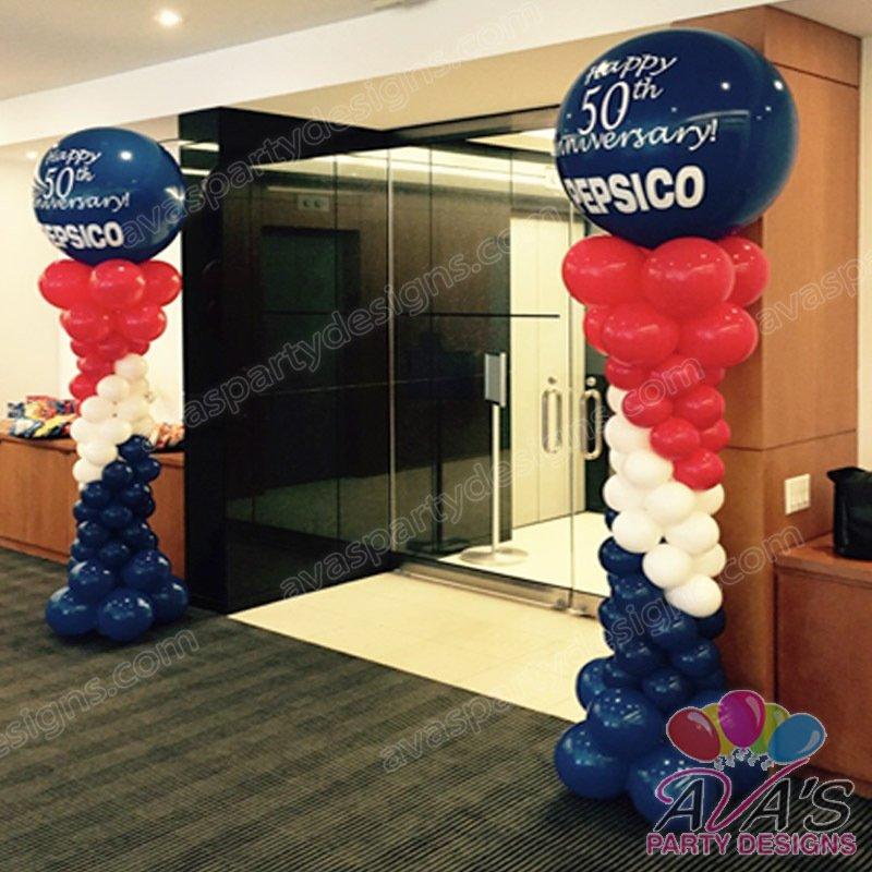 Anniversary Balloon Column, corporate balloon decor