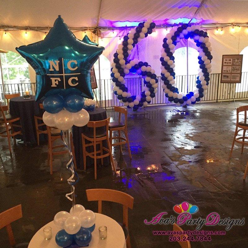 custom balloon centerpiece, balloons with logo