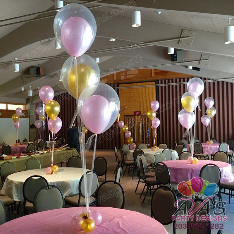 Pink & Gold Double Bubble Balloon Bouquet, Balloon & Tulle Centerpiece, 3-Balloon Table Centerpiece