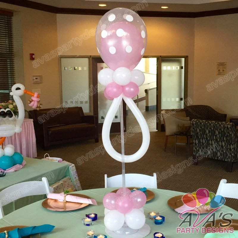 Ava's Party Designs, pacifier balloons, baby shower balloon centerpieces,