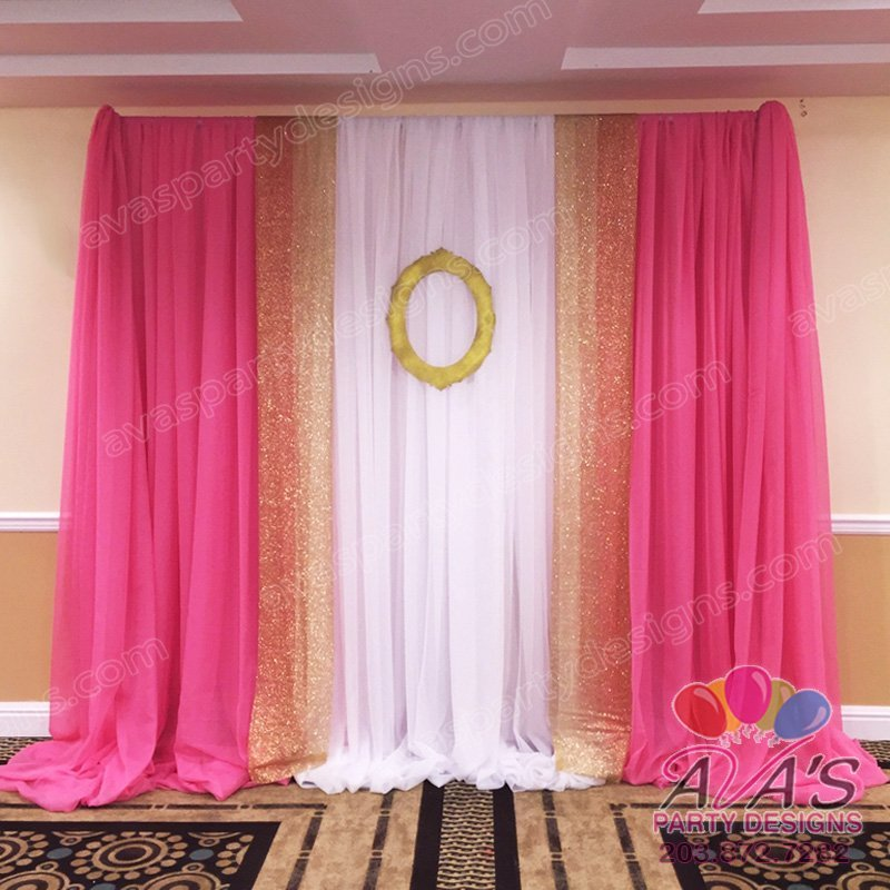 Pink Gold and White Fabric Backdrop, draping ideas for princess party