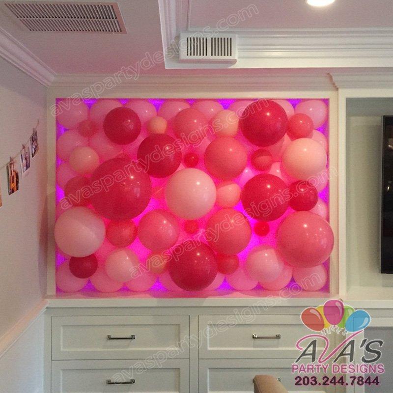 organic balloon wall, pink balloon wall, bubbly balloon decor