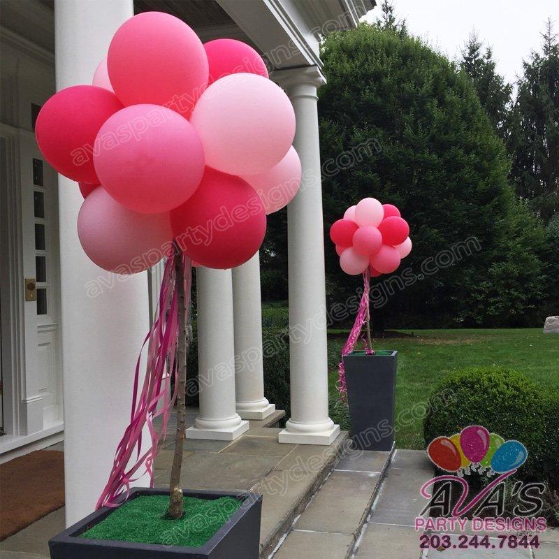 Balloon Pom Pom Columns, topiary poles