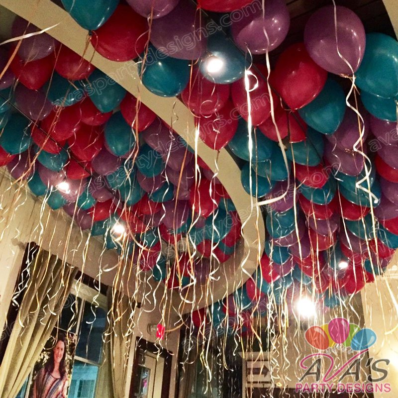ceiling balloons, ceiling of balloons and streamers, bulk balloon delivery