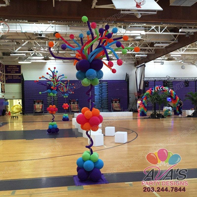 Rainbow Curly Balloon Column, balloon columns, balloon decoration in CT