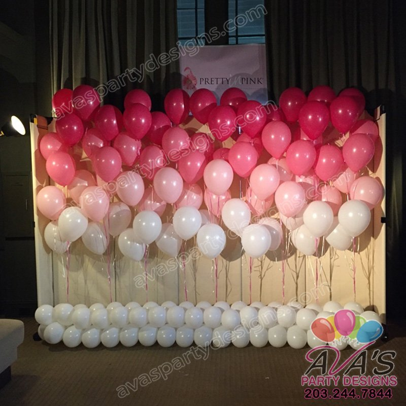 Ombre Pink Balloon Backdrop, pink balloon wall, backdrop of balloon bouquets, breast cancer awareness balloons