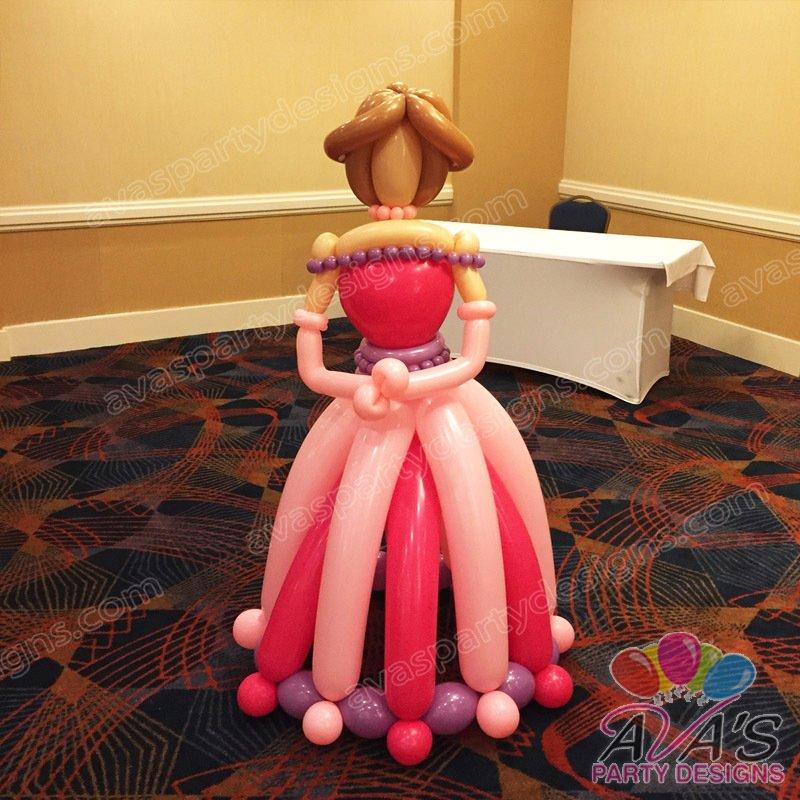 Giant Princess balloon sculpture, princess theme balloon decoration, Ava's Party Designs