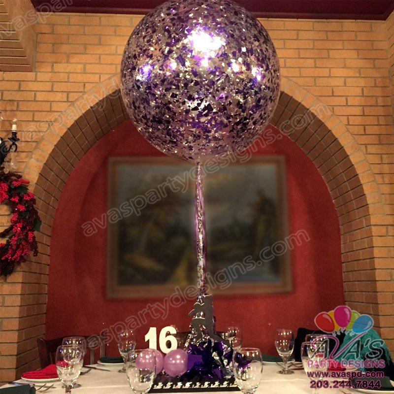 Confetti Balloons, Purple and Silver Metallic Balloon decor
