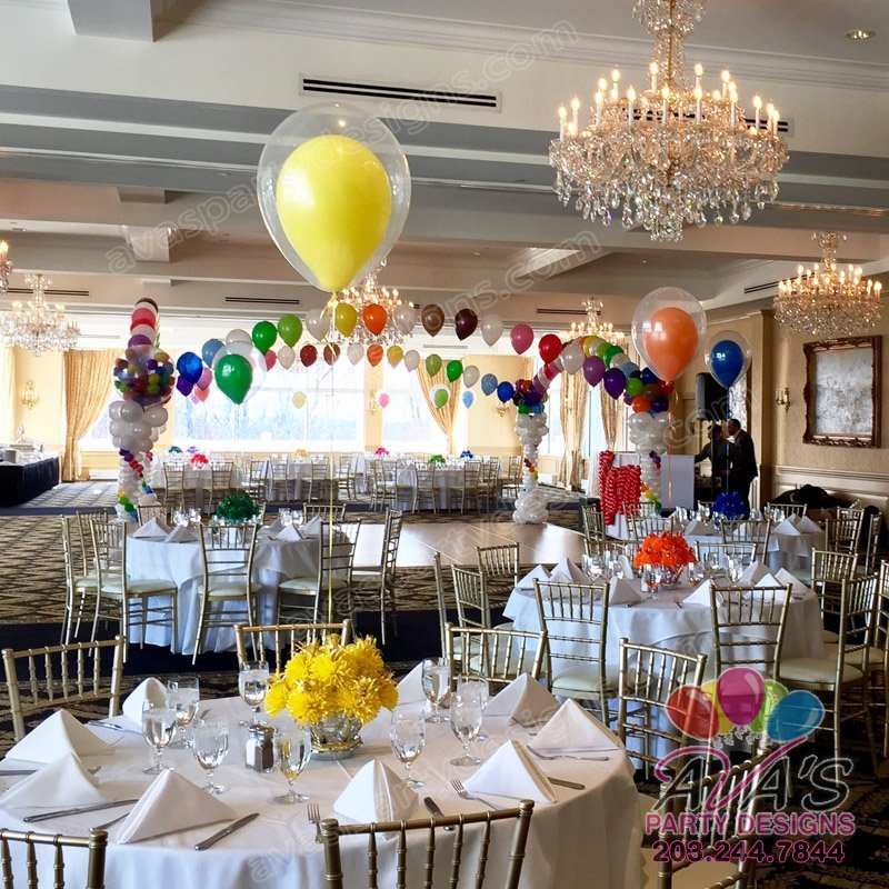 Double Bubble Balloon Centerpieces, rainbow theme balloon decor, double stuff balloons