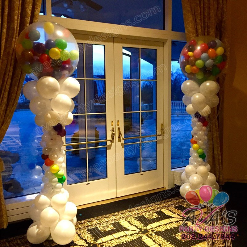 Rainbow Gumball Balloon Columns, Bat Mizvah Balloon Decor, Rainbow theme balloon decoration