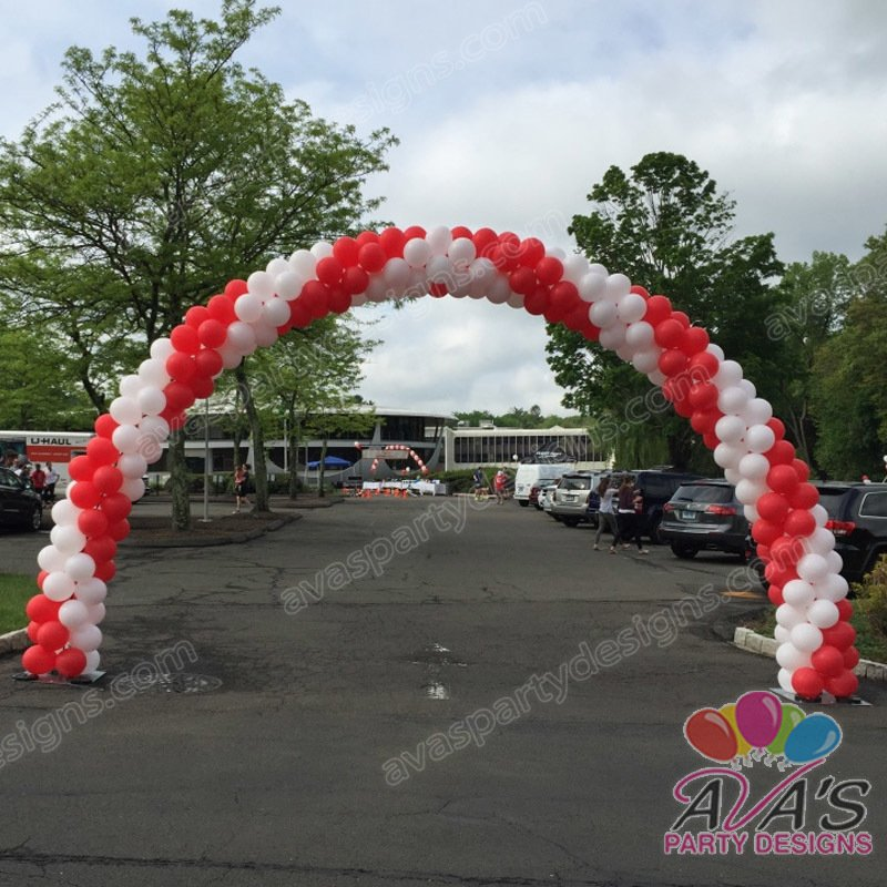 outdoor balloon arch, corporate balloon decor, red and white balloon arch