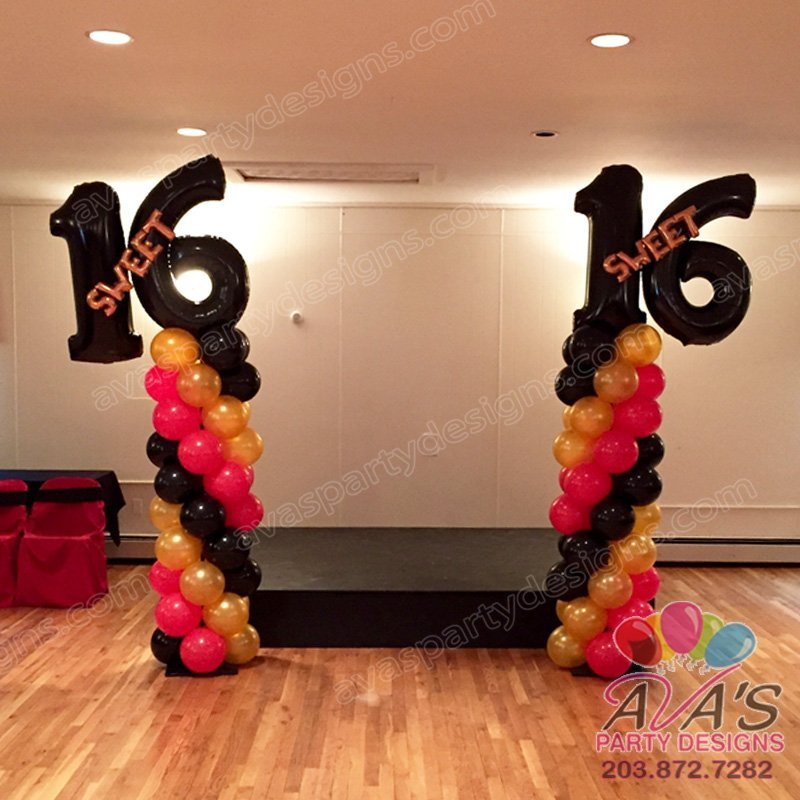 Sweet 16 Birthday Balloon Columns, Birthday Party Decorations, red gold and black balloon decor