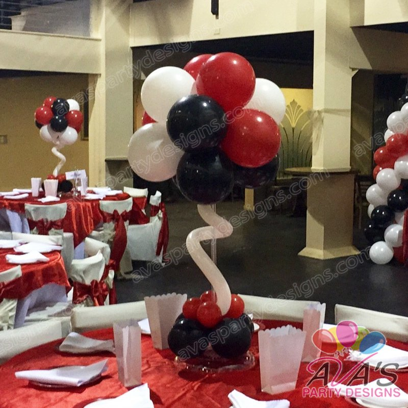 Ava's Party Designs, balloon centerpiece, red and black balloon decoration