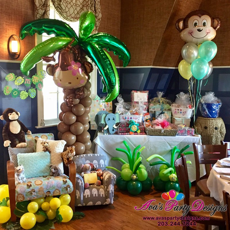 Safari Themed Baby Shower Balloon Decor, animal balloon decoration