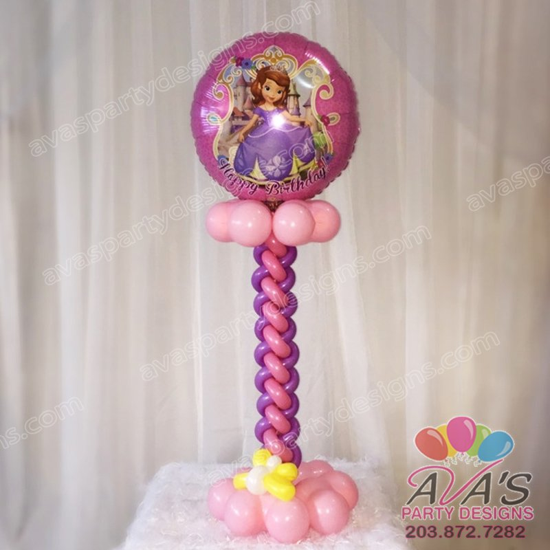 Ava's Party Designs, Sophia the First Happy Birthday Centerpiece, Princess Balloon Decor