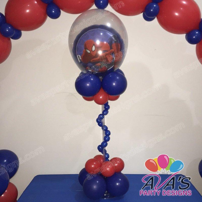 Ava's Party Designs, spiderman balloon centerpiece, spiderman balloon decoration