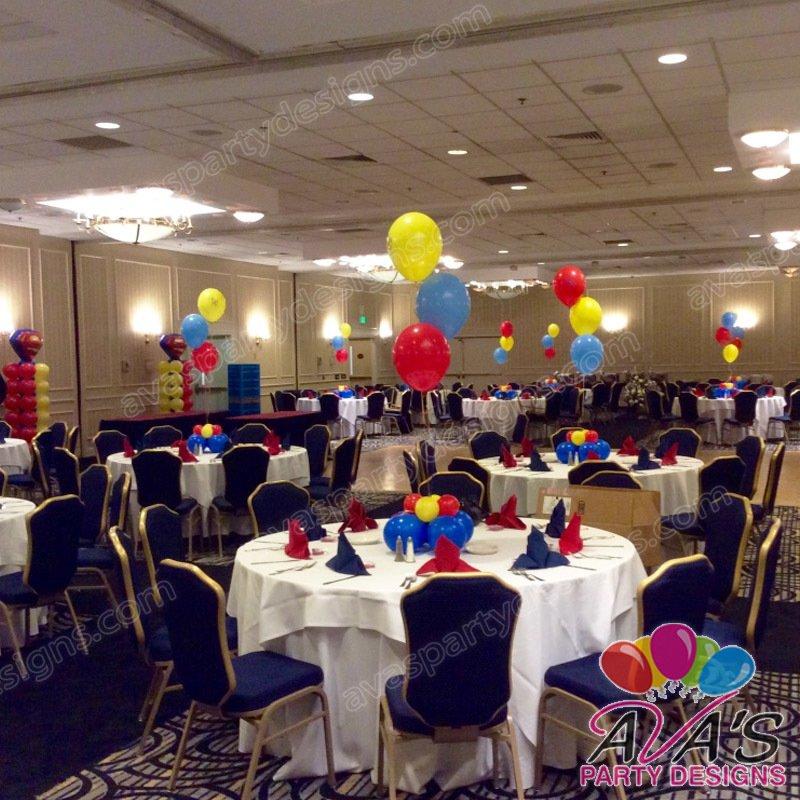 superman balloon centerpiece, superman balloon decoration