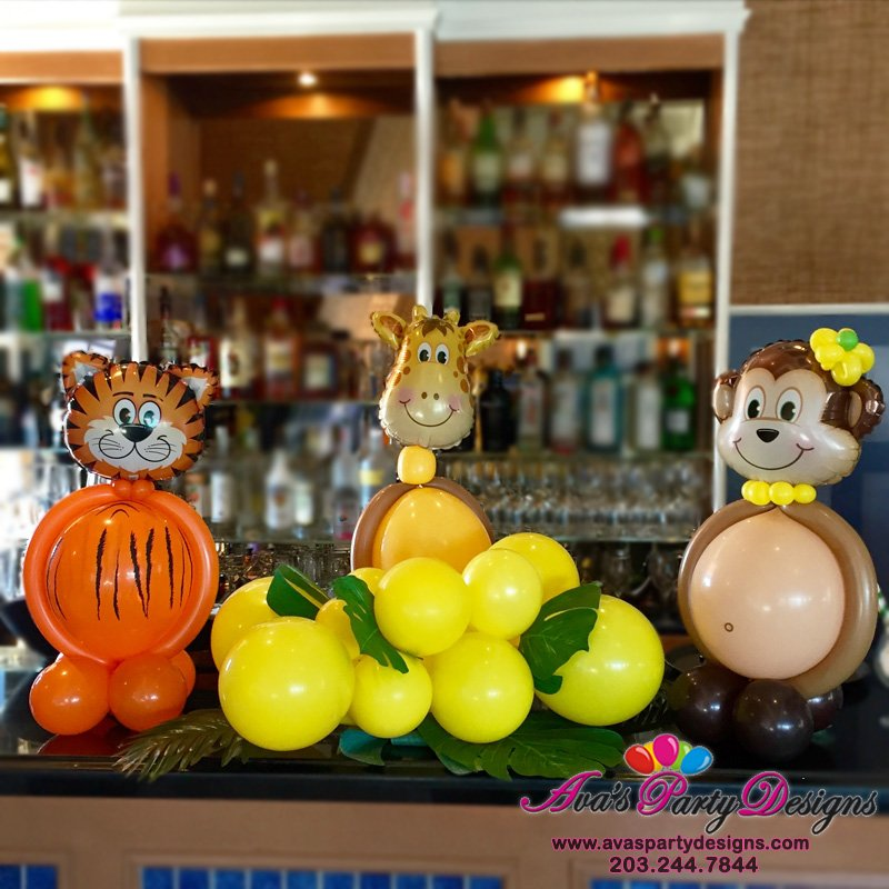 Animal Balloon Centerpieces, Giraffe, Tiger and Monkey animal balloon decoration