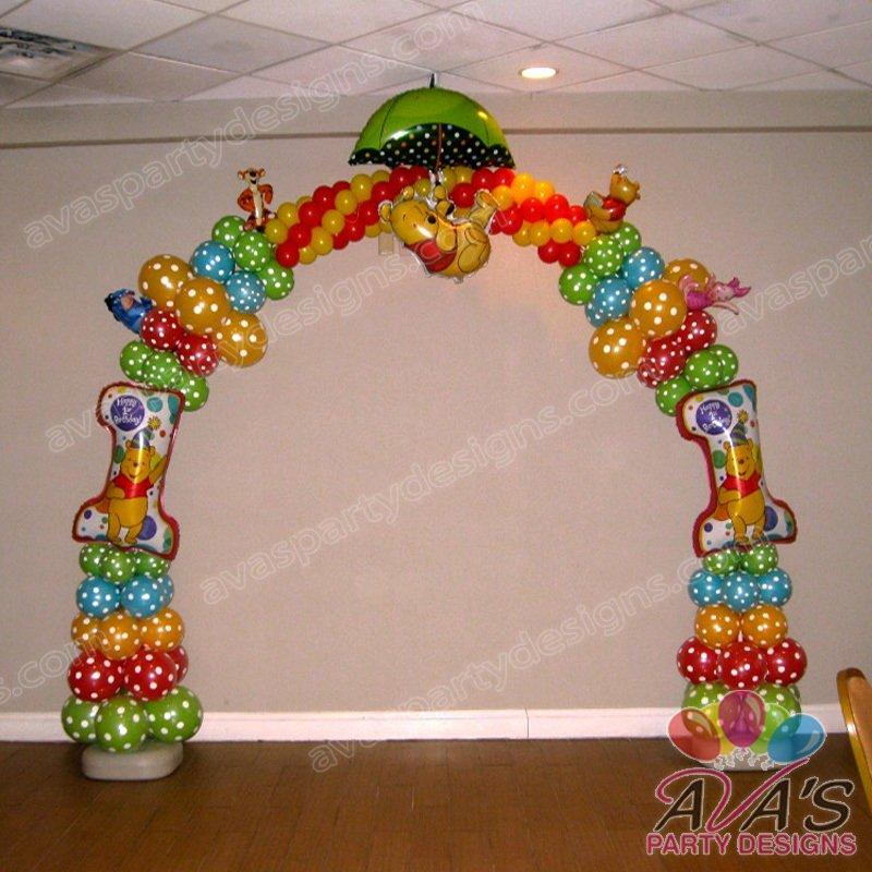 balloon arch, winnie the pooh balloon arch, winnie the pooh balloon decoration, pooh 1st birthday balloons