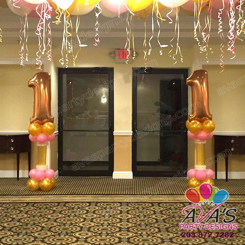 #1 Balloon Pedestal, 1st birthday balloon colomn