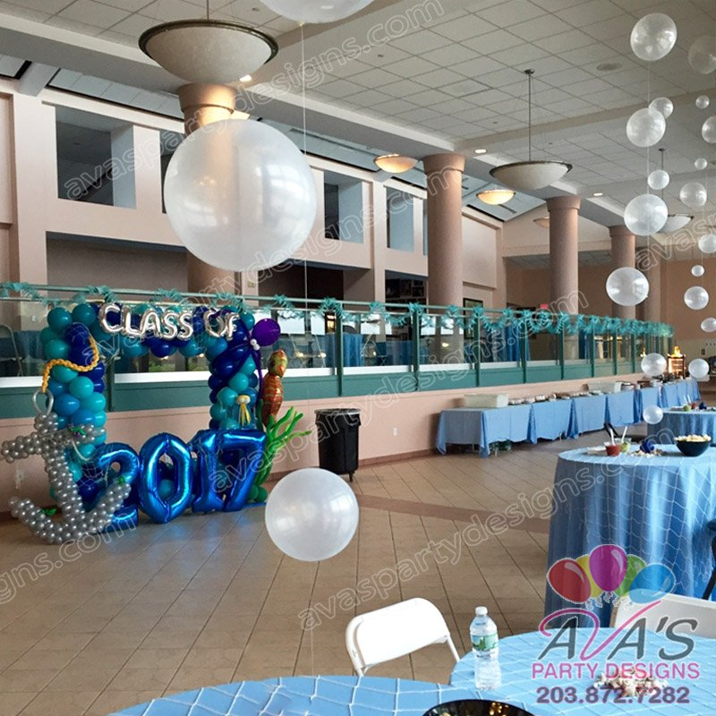 Under the Sea Balloon decor, ocean bubble balloon centerpiece, school prom decor ideas
