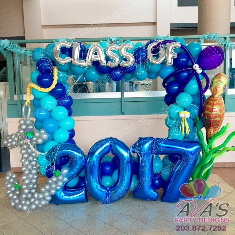 Balloon Photo Frame, under the sea balloon decor, Graduation balloon decor, Under the sea balloon arch, event planner westport ct
