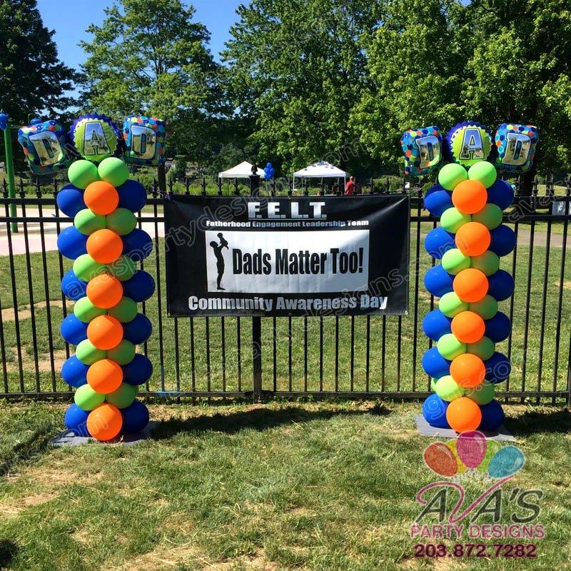 Balloon Column, Father's Day Balloon Column, Orange Blue & Green Balloon Column