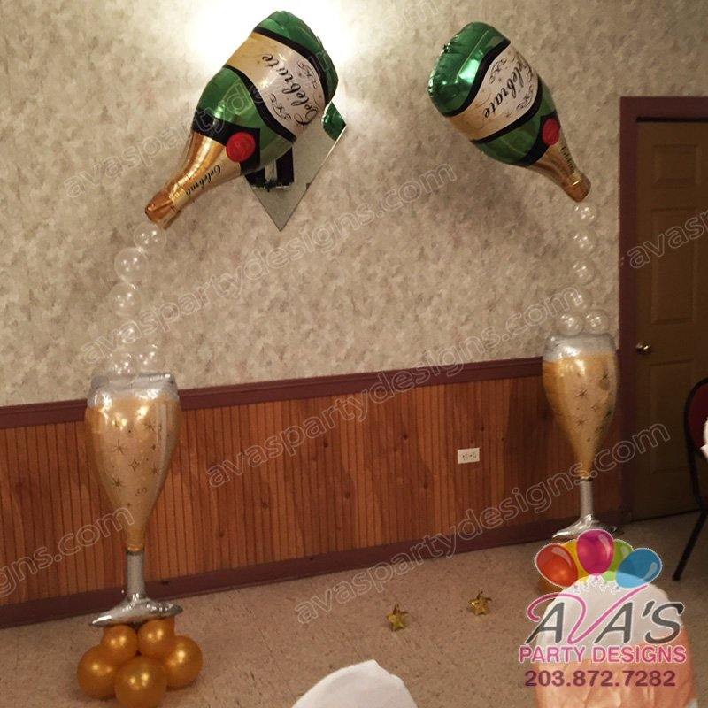 Champagne Bottle and Glass Balloon Column, foil champagne glass balloon