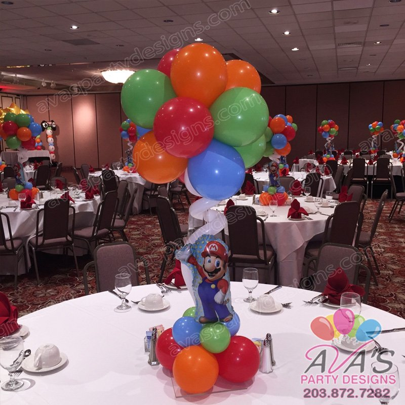 Mario Bros Balloon Centerpiece, game theme bar mitzvah, Mario Brothers balloon decoration,