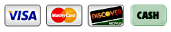 Payment Icons - Visa, MasterCard, Discover, Cash
